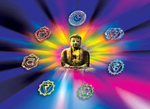 Buddhism. Buddha with symbols of chakra over rainbow whirl vector illustration