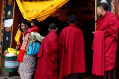 Buddhism In Bhutan. The Buddhism practiced in the country today is a vibrant religion that permeates nearly every facet of the Bhutanese life style.  It is Stock Image