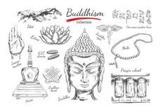 Buddhism collection. Spirituality,Yoga print. Vector hand drawn illustration. Sketch style. Ritual objects with Buddha head Stock Images