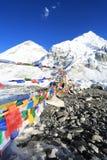 Buddhism flag everest basecamp  from nepal Stock Image