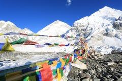Buddhism flag everest basecamp  from nepal Royalty Free Stock Image