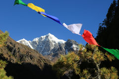 Buddhism flag everest summit  from nepal Royalty Free Stock Images