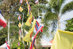 Buddhism flag and Thai flag in Buddhist Temple Stock Image