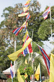 Buddhism flag and Thai flag in Buddhist Temple Royalty Free Stock Photography