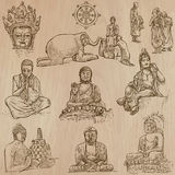 Buddhism - Freehand sketching, vector pack. Buddhism - BUDDHA, religion. Description - Vectors, freehand sketching. Editable in layers and groups. Background is royalty free illustration