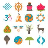 Buddhism icons set Royalty Free Stock Photography
