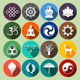 Buddhism Icons Set Flat Royalty Free Stock Photography