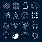 Buddhism icons set outline Stock Photos