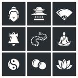 Buddhism icons set. Vector Illustration. Stock Photo