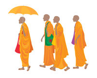 Buddhism. An illustration of a line of buddhist monks walking along wearing traditional orange robes with colorful bags umbrella and sandals on a white Stock Image