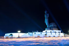 Buddhism light waving rite Royalty Free Stock Photos