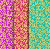 Buddhism paisley seamless pattern set Stock Images