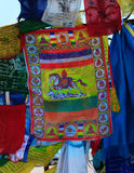 Buddhism prayer flags lungta close up Stock Photos