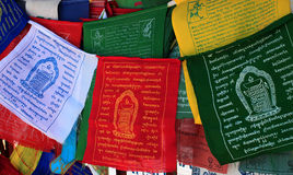 Buddhism prayer flags lungta close up Royalty Free Stock Image