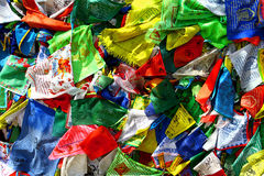 Buddhism prayer flags lungta on the wind Royalty Free Stock Images