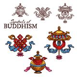 Buddhism religion auspicious symbol sketch. Buddhism religion sketch set with auspicious symbols. Endless knot, umbrella and treasure vase signs of wealth and vector illustration