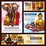 Buddhism religion sketch symbols and elements. Buddhism religion design with holy symbols, vector. Monk in robe and elephant, Buddha statue and vase, lanterns royalty free illustration