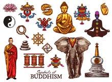 Free Buddhism Religion, Meditation Sketch Symbols Stock Photography - 139101812
