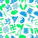 Buddhism religions symbols  icons seamless pattern eps10 Stock Image