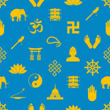 Buddhism religions symbols vector icons seamless pattern eps10 Royalty Free Stock Image