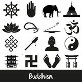 Buddhism religions symbols vector set of icons eps10 Royalty Free Stock Photo