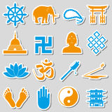 Buddhism religions symbols vector set of stickers eps10 Royalty Free Stock Photo