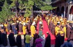 Buddhism religious ceremony. In 2014.7.27, the buddhism religious ceremony was held in Xiantong Temple in Wutai Mountian, Shanxi, China. The monks  were walking Stock Image