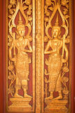 Buddhism Religious Temple Door. Carved wooden Buddhism Religious Temple Door Royalty Free Stock Image