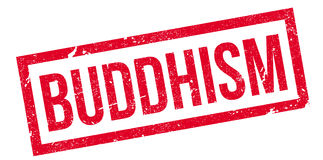 Buddhism rubber stamp. Grunge design with dust scratches. Effects can be easily removed for a clean, crisp look. Color is easily changed Stock Image