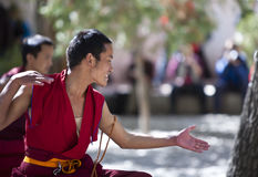 Buddhism Scriptures Debating lamas Stock Photo
