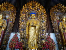 Buddhism statue at Longhua Temple. Shanghai, China-June 6, 2015:The Longhua Temple literally Lustre of the Dragon Temple is a Buddhist Temple dedicated to the Royalty Free Stock Photo
