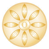Buddhism Symbol. Golden symbol of the Buddhist faith. Lotus blossom, Wheel of Dharma on a white background. EPS8 compatible Stock Photo