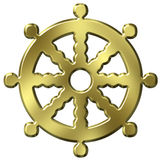Buddhism Symbol. 3D Golden Buddhism Symbol Wheel of Life Royalty Free Stock Images