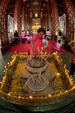 Buddhism Thai peoples worship on main Buddha in temple. Stock Image