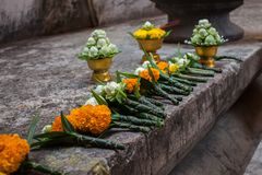 Buddhism of Thailand. Flowers  Buddha Buddhism of Thailand is important Stock Images