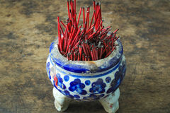 Buddhism, Thailand Religion. Incense Sticks. In Temple Royalty Free Stock Photos