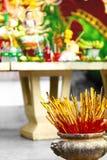 Buddhism, Thailand Religion. Incense Sticks In Urn In Temple. Pr Stock Photo