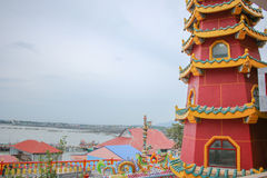 Buddhism tower with sea background Royalty Free Stock Image