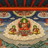Buddhism wall painting. Tibetan buddhism wall painting at songzhanlin temple , shangri la , China stock images