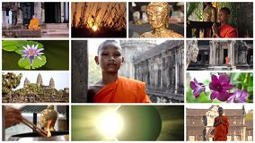 Buddhismuscollage, Frieden, Meditation, Bestimmtheit stock video footage