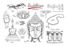Buddhismussammlung Geistigkeit, Yoga Vektorhand gezeichnete Abbildung Laptop- und Blinkenleuchte Ritualgegenstände mit Buddha-Kop lizenzfreie abbildung