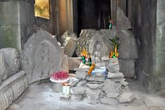 Buddhist altar at Angkor Wat temple Royalty Free Stock Photography