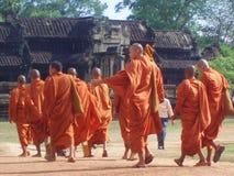 Buddhist Monks Angkor Wat Cambodia. Buddhist monks at sacred temple Angkor Wat in Cambodia Royalty Free Stock Photo