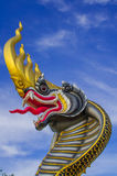 Buddhist art. Dragon head,gold,black and yellow stripes royalty free stock images