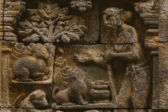 Buddhist Bas-Relief Detail in Borobudur Temple Stock Photography