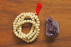 Buddhist beads. Rosary or beads from the sacred tree of Tulasi w stock photo