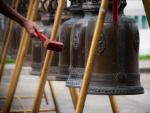 Buddhist Bells. Bells at the temple of Wat Kalayanamit, Bangkok, Thailand Stock Photo
