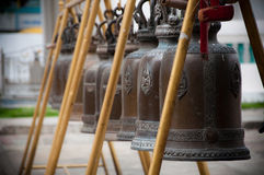 Buddhist Bells. Bells at the temple of Wat Kalayanamit, Bangkok, Thailand Royalty Free Stock Photo