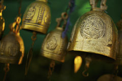 Buddhist bells inside the temple Stock Photos