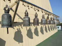 Buddhist bells, Thailand. Buddhist bells at the golden mount in Bangkok, Thailand Stock Images